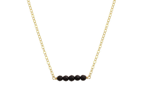 Elements matte Black Onyx yellow gold fiiled necklace - quick ship - Amanda K Lockrow