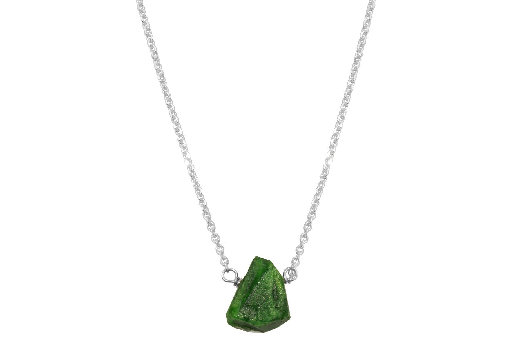 Raw Chrome Diopside 14k yellow gold filled necklace - Amanda K Lockrow