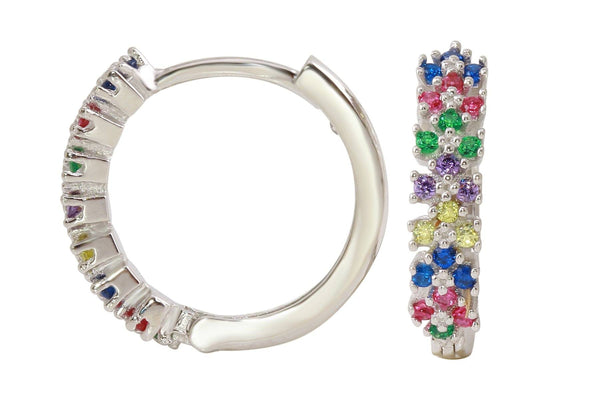 Felicity sterling silver rainbow huggie hoop earrings - Amanda K Lockrow