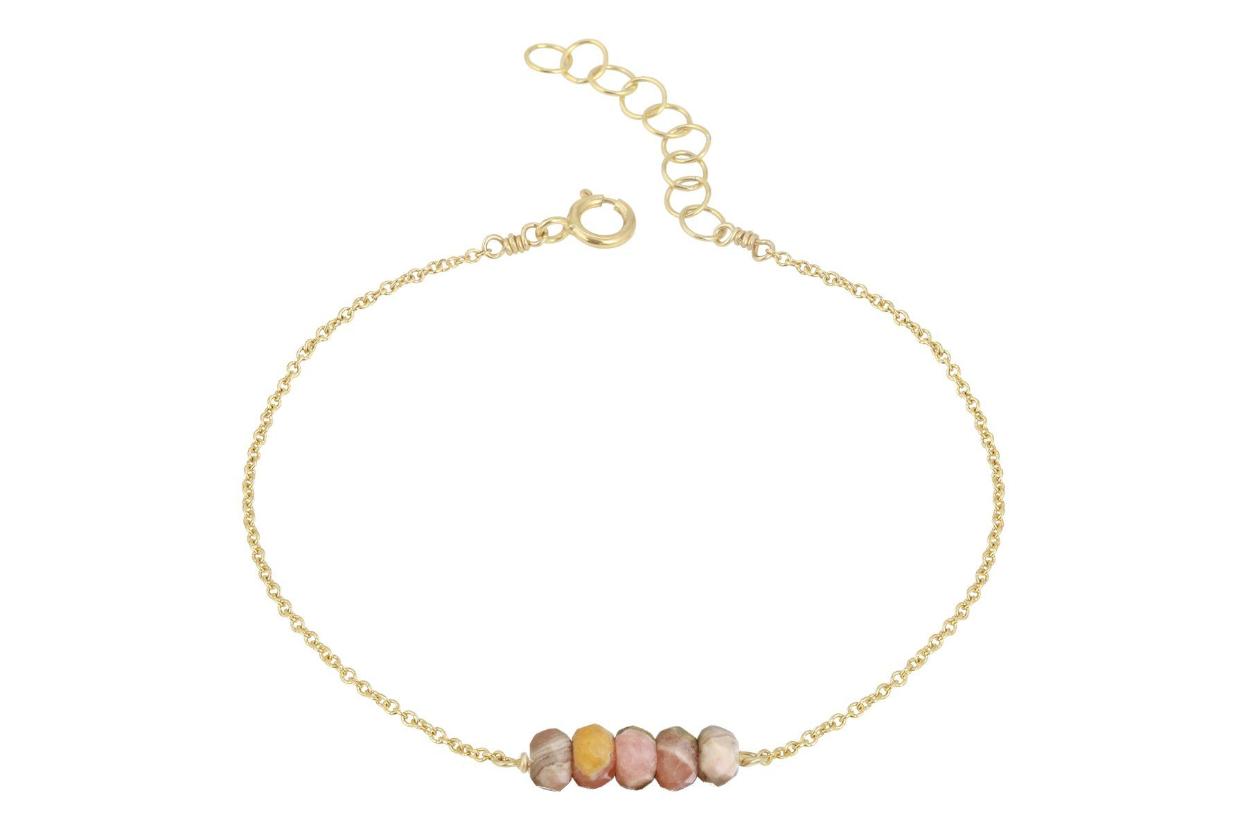 Elements- Rhodochrosite 5 stone gold filled adjustable chain bracelet - Amanda K Lockrow