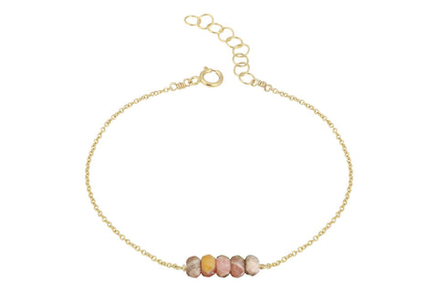 Elements- Rhodochrosite 5 stone gold filled adjustable chain bracelet
