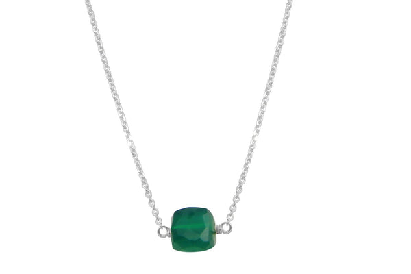 Green onyx little rock necklace