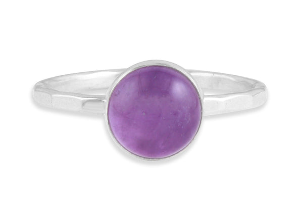 Amethyst 8mm sterling silver stacking ring - Amanda K Lockrow