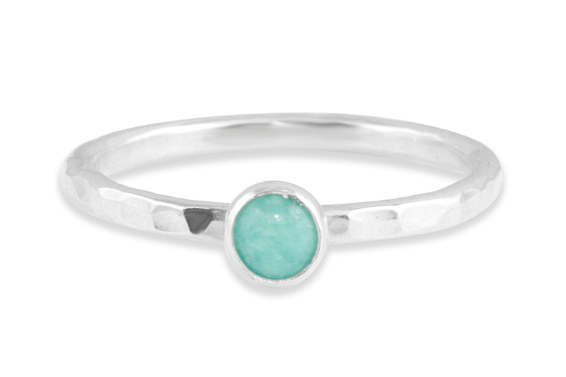 Amazonite sterling silver stone stacking ring - Amanda K Lockrow