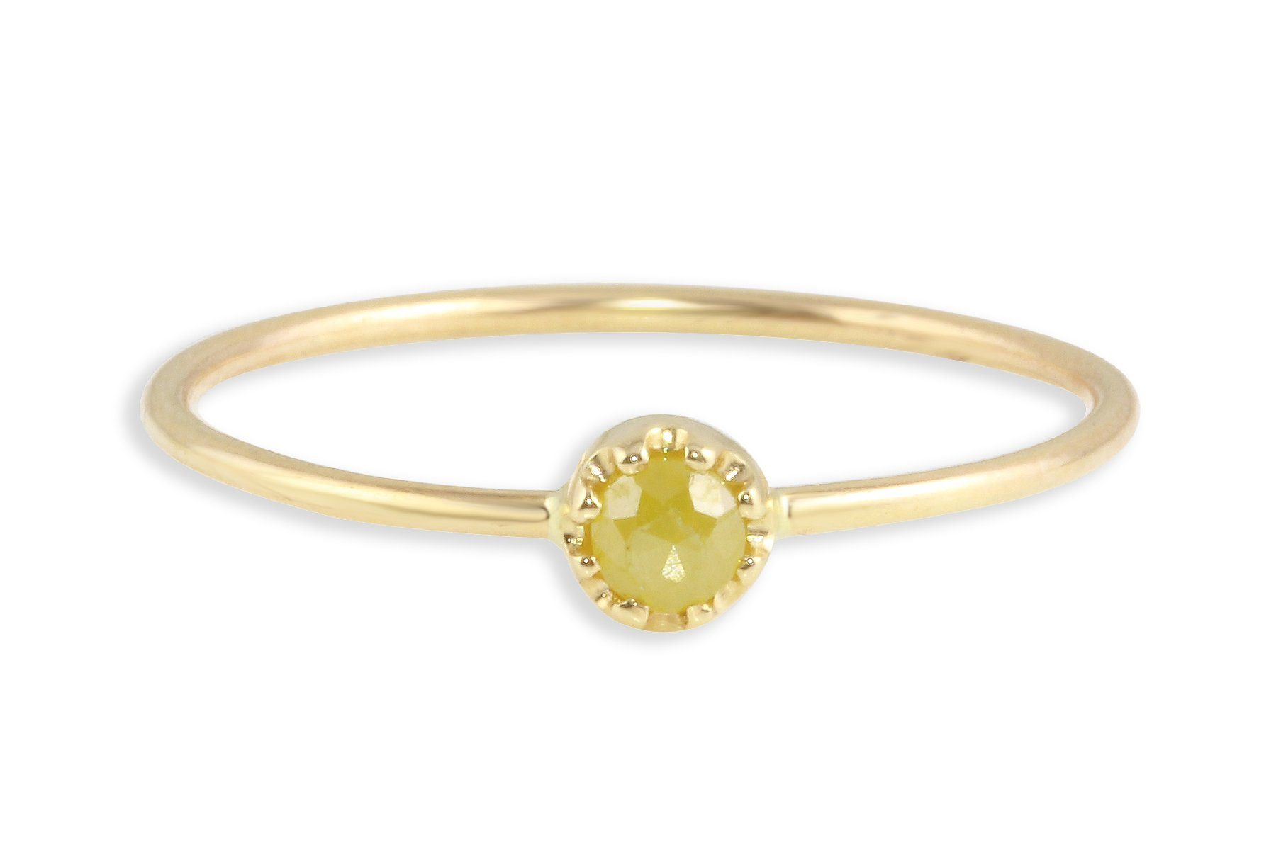 14K gold and yellow rosecut diamond stacking ring - Amanda K Lockrow