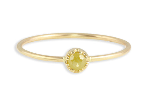 14K gold and rosecut stacking ring // size 6.5