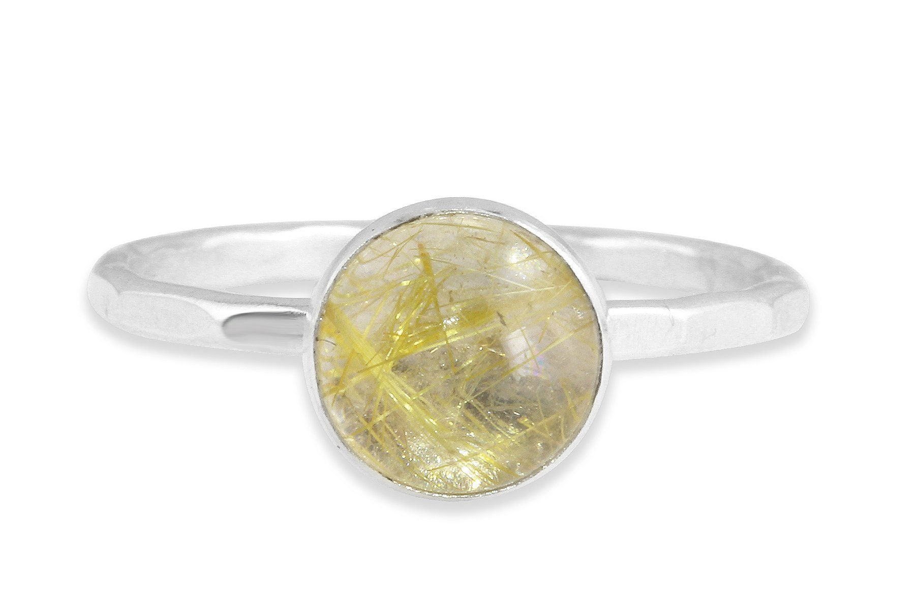 Rutilated Quartz 8mm sterling silver stacking ring - Amanda K Lockrow
