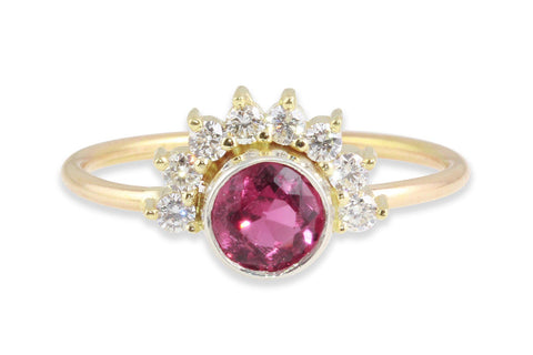 Arunika Pink Tourmaline and Diamond engagement ring - Amanda K Lockrow