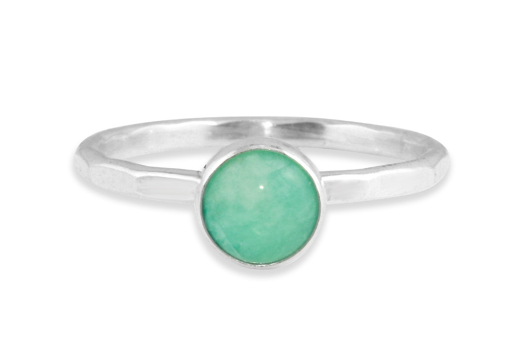 Amazonite 6mm sterling silver stacking ring - Amanda K Lockrow