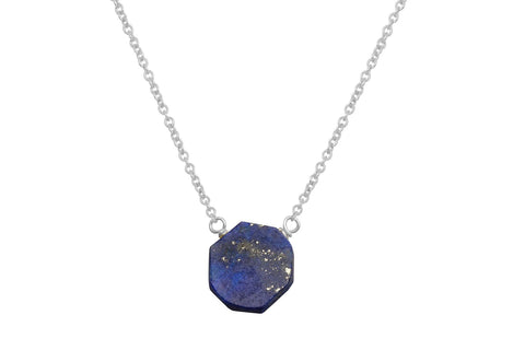 Lapis Lazuli slice sterling silver necklace