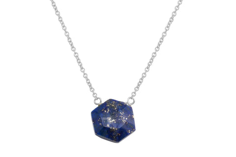 Lapis lazuli hexagon sterling silver necklace - Amanda K Lockrow