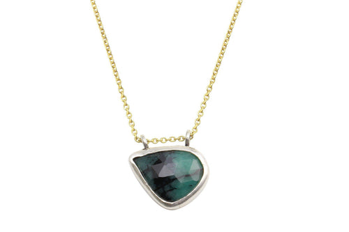 Rosecut emerald sterling silver necklace necklace Amanda K Lockrow