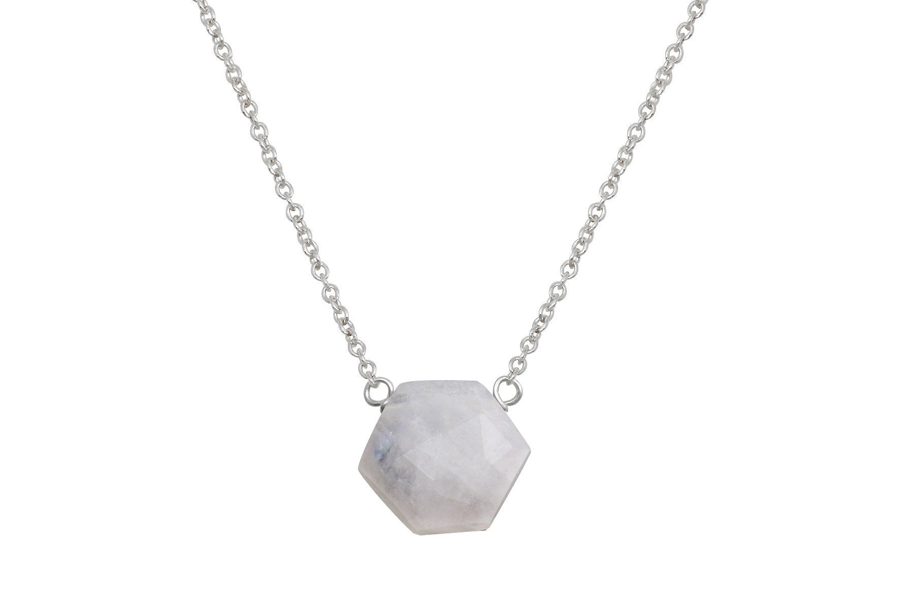 Rainbow moonstone hexagon sterling silver necklace - Amanda K Lockrow