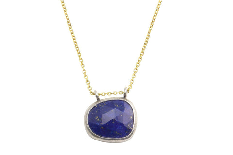 Rosecut lapis lazuli sterling silver necklace