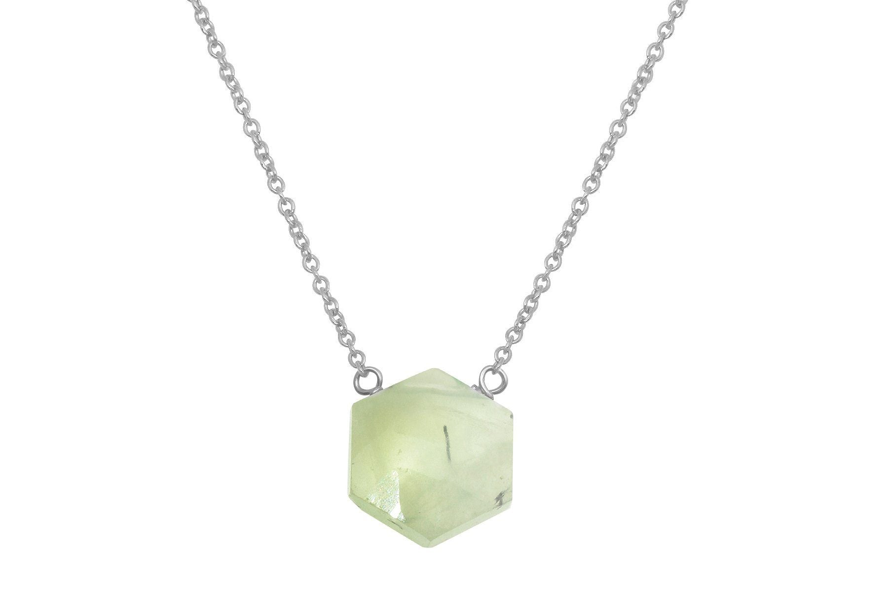Prehnite hexagon sterling silver necklace - Amanda K Lockrow