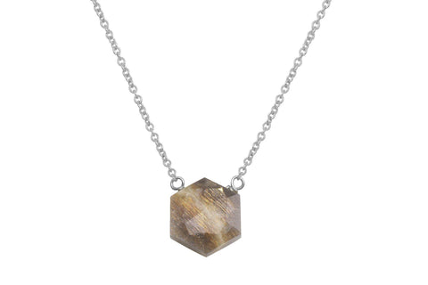 Moonstone hexagon sterling silver necklace