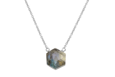 Labradorite hexagon sterling silver necklace - Amanda K Lockrow