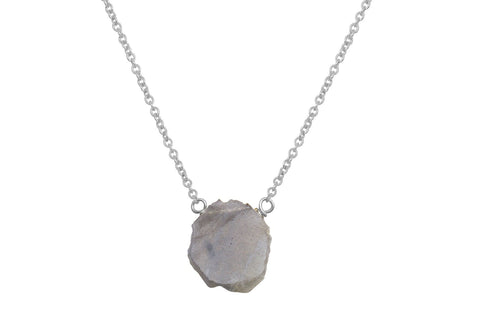 Labradorite slice sterling silver necklace - Amanda K Lockrow