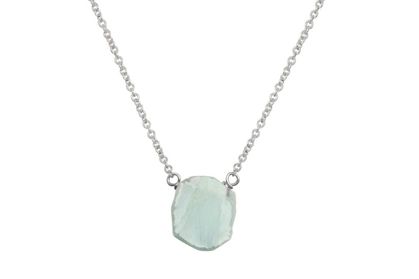 Aquamarine slice sterling silver necklace - Amanda K Lockrow