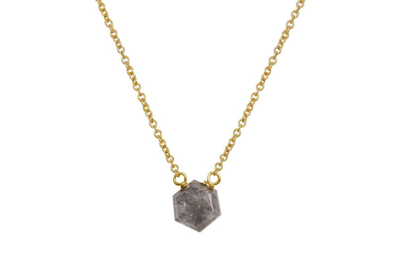 14k yellow gold grey diamond hexagon rosecut dainty necklace - Amanda K Lockrow
