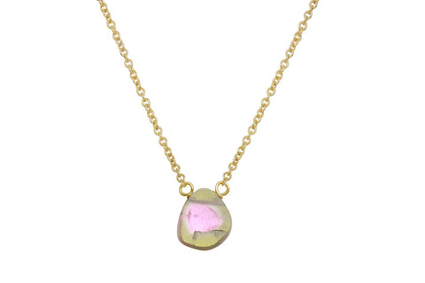 14k yellow gold watermelon tourmaline slice dainty necklace