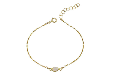 Rhea - Ethiopian Opal gold filled adjustable chain bracelet