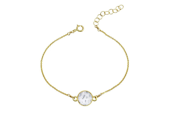 Rhea - Dendritic Opal 14K yellow gold filled adjustable chain bracelet - Amanda K Lockrow