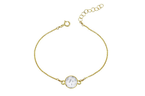 Rhea - Dendritic Opal 14K yellow gold filled adjustable chain bracelet