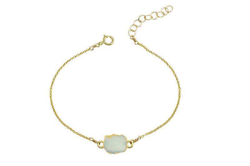 Rhea - Druzy Agate 14K yellow gold filled adjustable chain bracelet bracelet Amanda K Lockrow