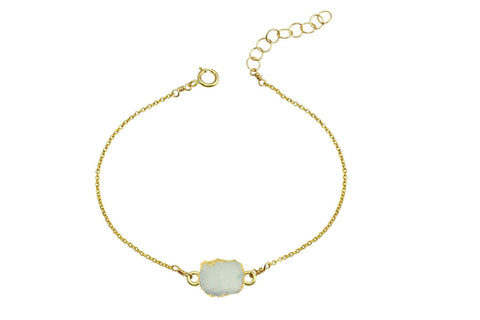 Rhea - Druzy Agate 14K yellow gold filled adjustable chain bracelet