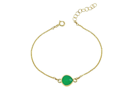 Rhea - Green onyx 14K yellow gold filled adjustable chain bracelet