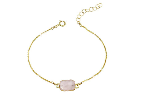 Rhea - Rose Quartz 14K yellow gold filled adjustable chain bracelet - Amanda K Lockrow