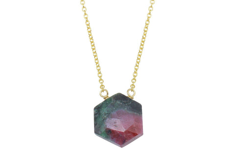 Ruby in zoisite hexagon sterling silver necklace