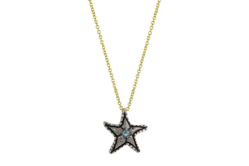 Lana necklace - sterling silver and aquamarine starfish necklace necklace Amanda K Lockrow