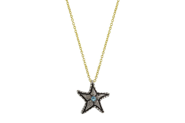 Lana necklace - sterling silver and aquamarine starfish necklace - Amanda K Lockrow