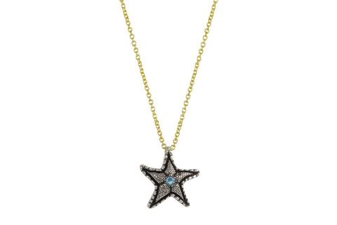 Lana necklace - sterling silver and aquamarine starfish necklace