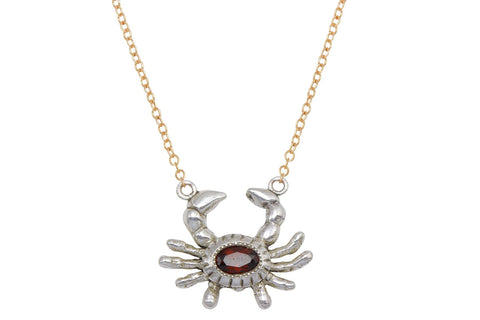 Crab necklace - sterling silver and garnet necklace