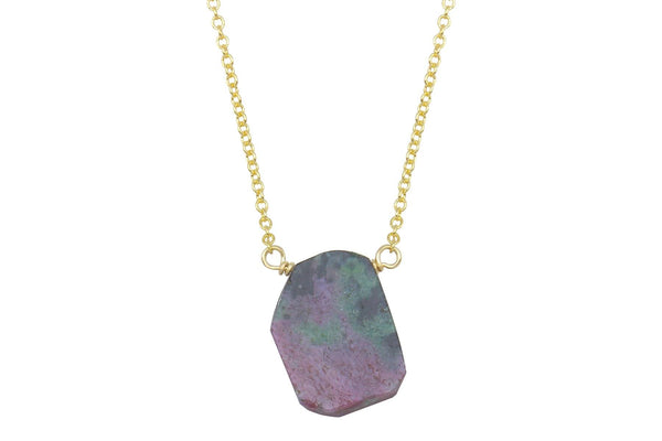 Ruby in zoisite slice 14k yellow gold filled necklace - Amanda K Lockrow