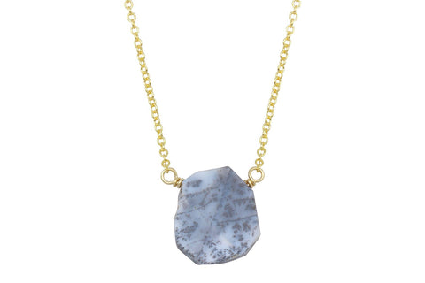 Dendritic opal slice sterling silver necklace