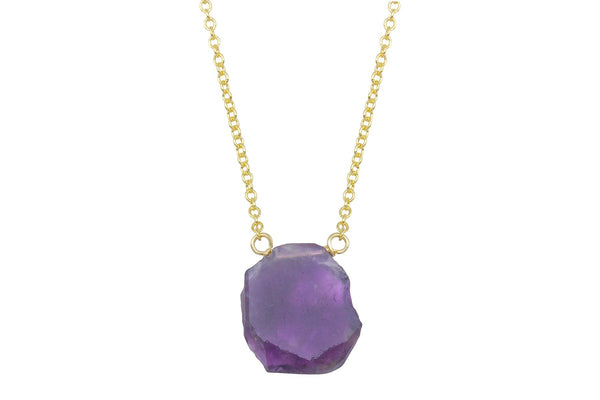 Amethyst slice 14k yellow gold filled necklace - Amanda K Lockrow