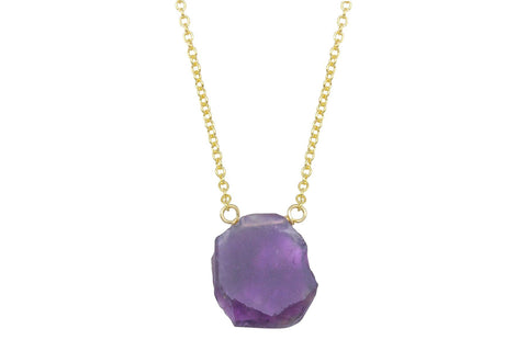 Amethyst slice 14k yellow gold filled necklace