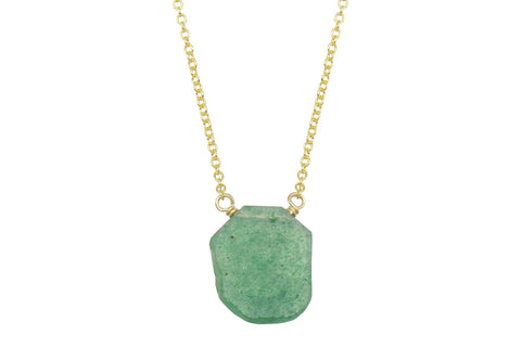 Green Quartz slice 14K yellow gold filled necklace - Amanda K Lockrow