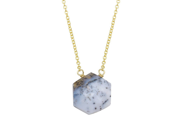 Dendritic opal hexagon 14k yellow gold filled necklace - Amanda K Lockrow