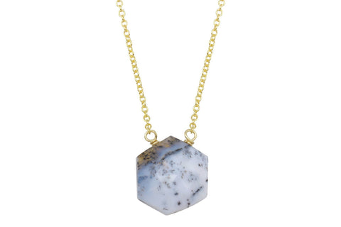 Dendritic opal hexagon sterling silver necklace