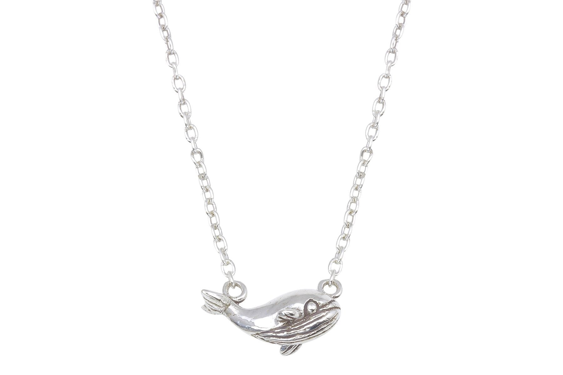 Tiny sterling silver whale necklace - Amanda K Lockrow