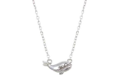 Tiny sterling silver whale necklace