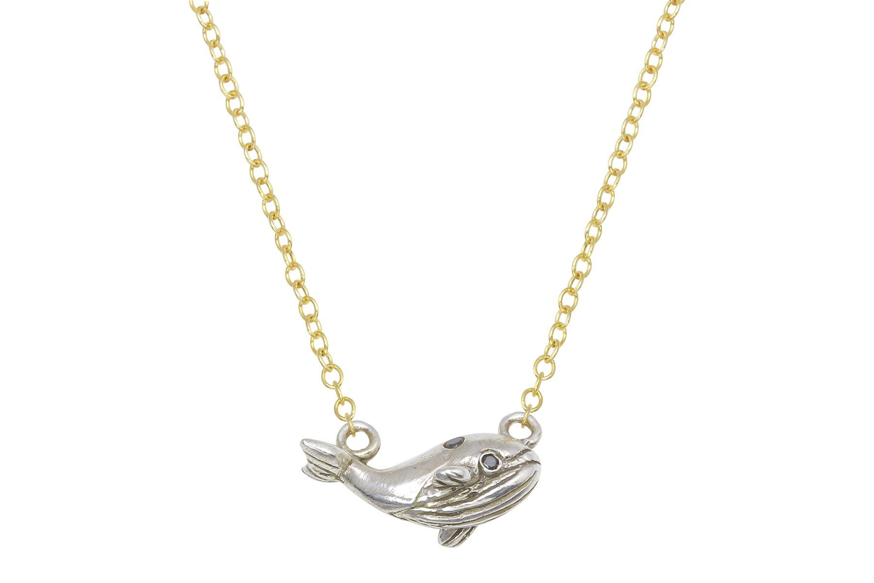 Tiny whale necklace - sterling silver and black diamond - Amanda K Lockrow