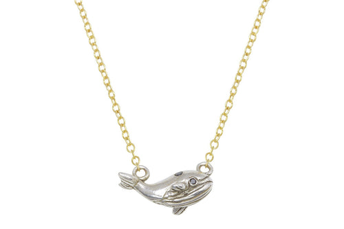 Kai necklace - little whale sterling silver and black diamond - ready to ship necklace Amanda K Lockrow