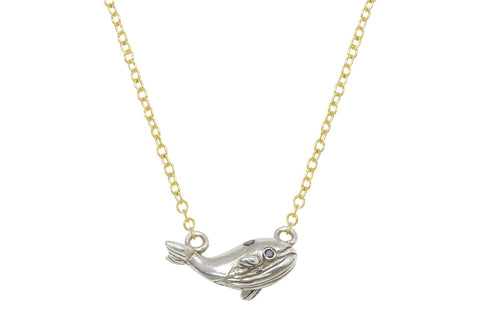 Tiny whale necklace - sterling silver and black diamond