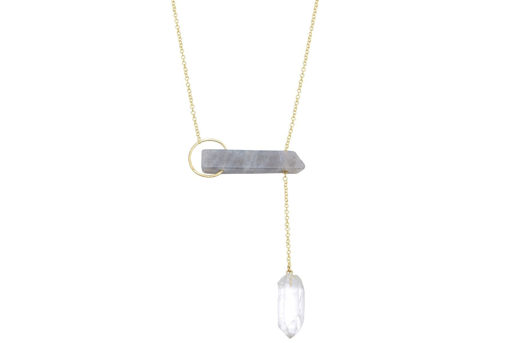 InSync necklace - Labradorite Bar & Clear Quartz Point - Amanda K Lockrow